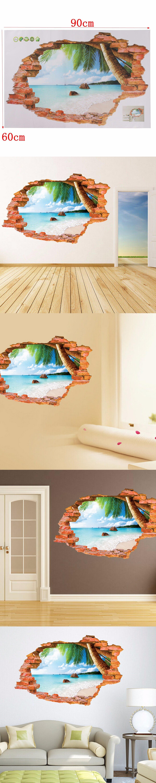 Sunshine Sunny Beach Fashion 3D Wall Stickers High Quality PVC ...