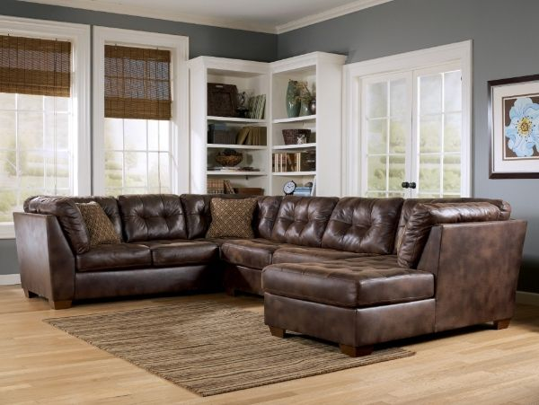 This Is A Cute Faux Distressed Leather Look Sectional Check My Yup I Did It Board I Turned This Pin In Living Room Leather Brown Living Room Living Room Paint