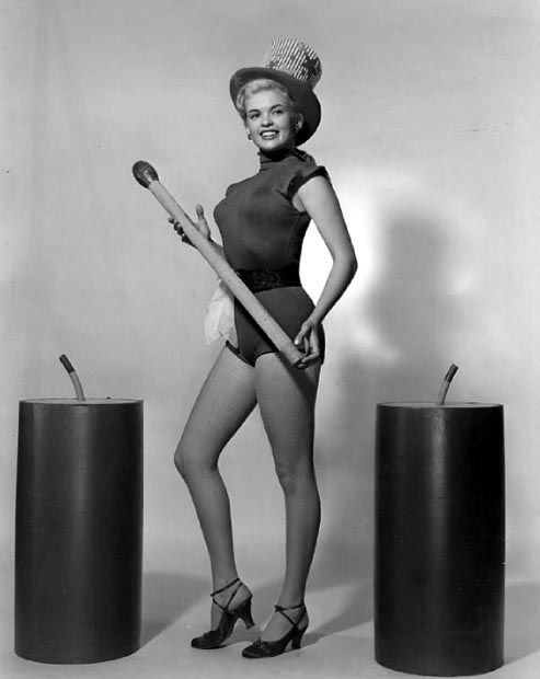 Jayne Mansfield Posed in Black One Piece Velvet Sexy Suit and Black Waist Belt with Hands Holding a Wood Baton and Right Foot Forward in Black High Heel Sandals High Quality Photo Happy4th Of July, Happy Fourth Of July, July 4th, Jayne Mansfield, Divas, Black High Heel Sandals, Girly, Black One Piece, Hollywood Stars