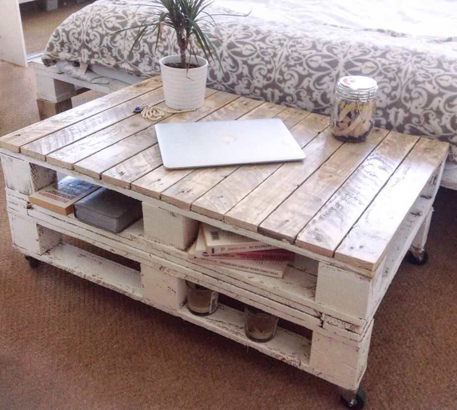 "Shabby Chic Corner Coffee Table: Pallet Coffee Table ""LEMMIK"" Farmhouse Style, Rustic"