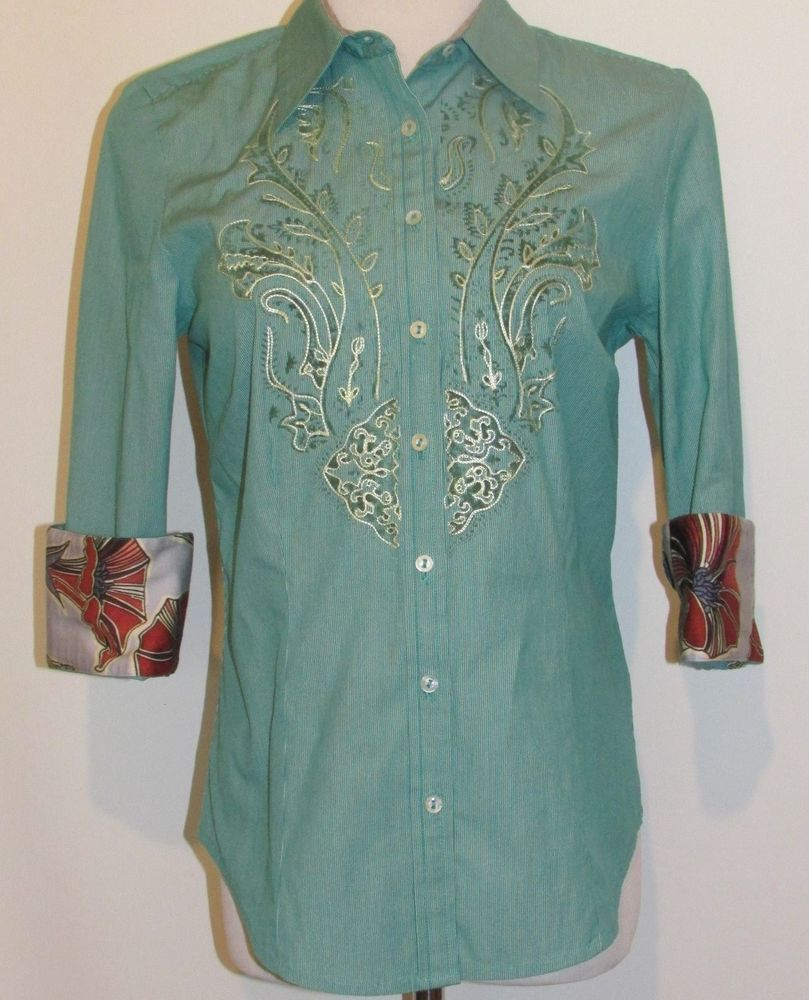 ROBERT GRAHAM Ladies Sz Small Green 3/4 Sleeve Button Front Shirt Flip Cuffs #RobertGraham #ButtonDownShirt