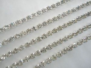 1-Meter-Diamante-Crystal-Rhinestone-Silver-Chain-2-5mm-3-25mm-4mm-UK-Seller - I have SS16-4mm @ £2.25