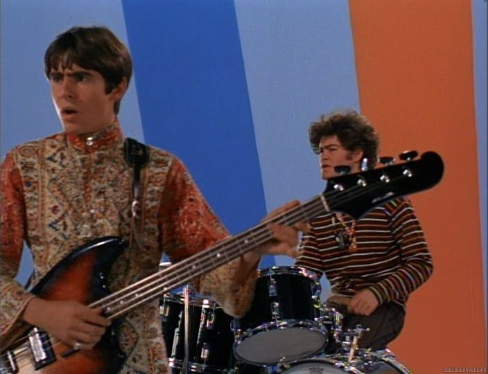 "Davy Jones on guitar & Micky Dolenz on the drums performing ""Pleasant Valley Sunday"" at the end of ""The Picture Frame"" episode"