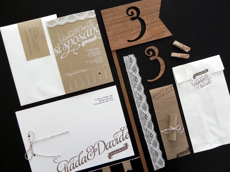 Giada Davide S Kraft Paper And Lace Wedding Invitations