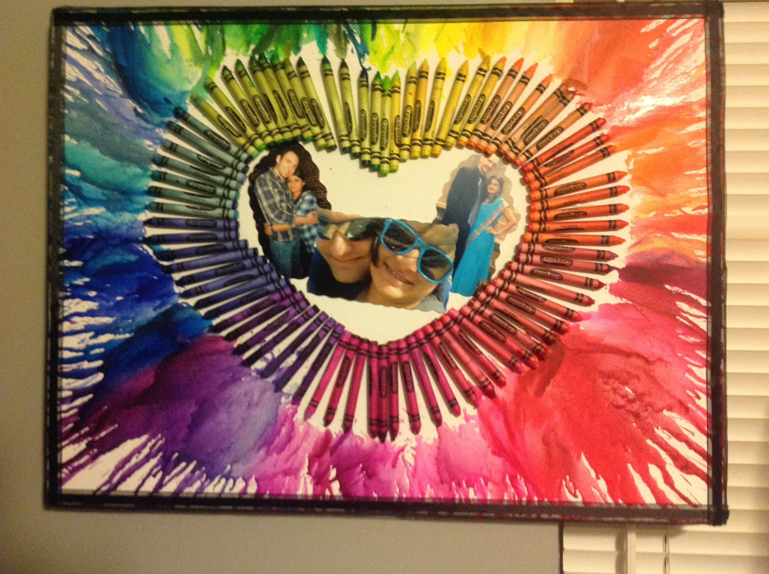 Diy  Melted Crayon Art With Pictures In The Middle