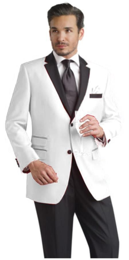 b1c98cd2ee21 SKU#REQ2 White Two Button Notch Party Suit & Tuxedo & Blazer w/ Black Lapel  $595