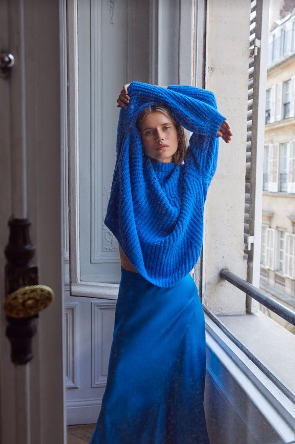 Jolie Sweater - Cerulean Blue by Anine Bing | Sweaters, Boyfriend fit, Blue