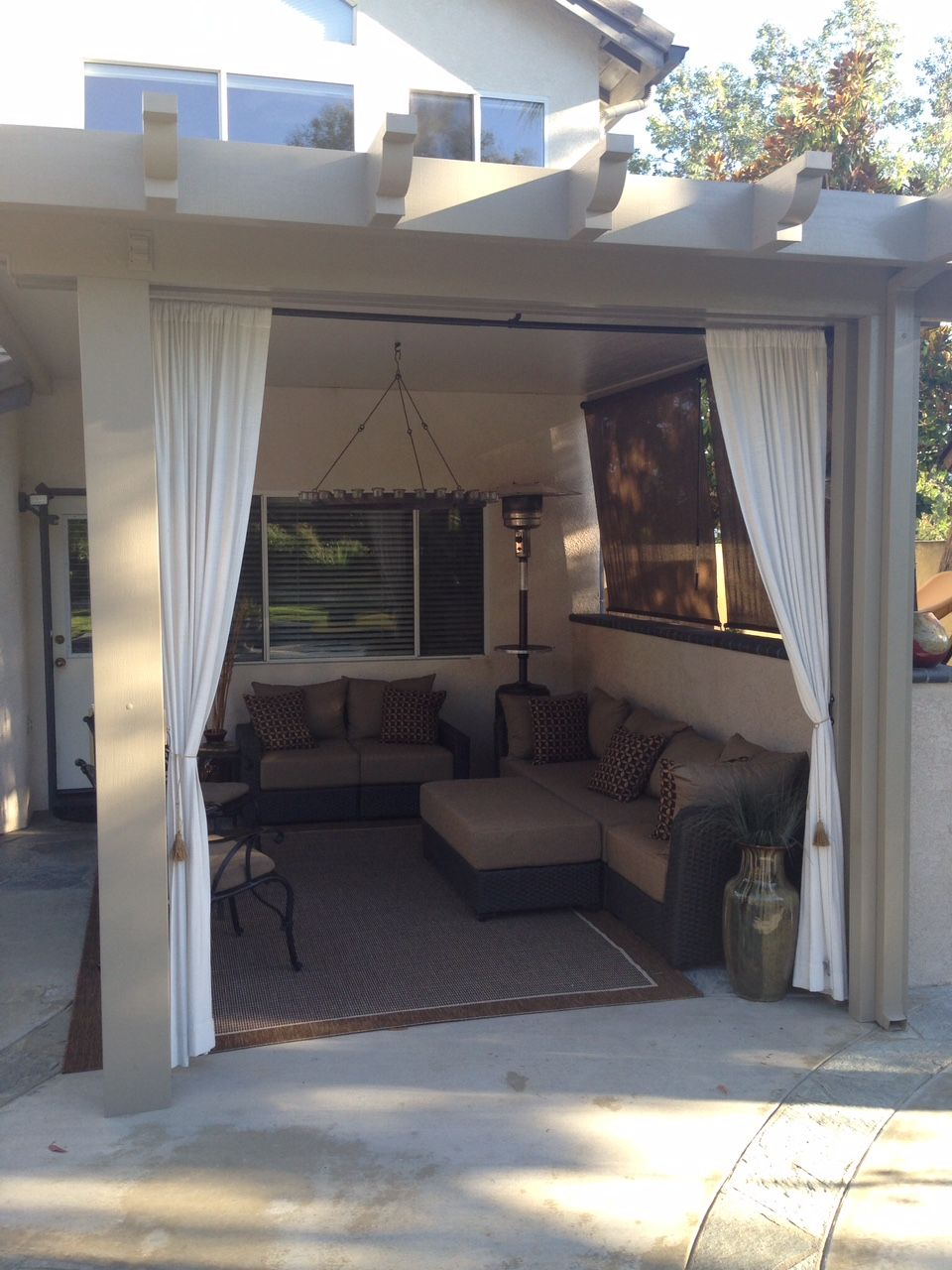 Outdoor living space with alumawood patio cover I Greenbee ... on Living Spaces Patio Set id=58152