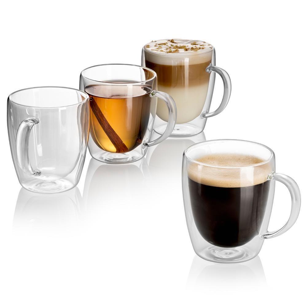 Indulge Set Of 4 Double Wall Glass Mugs 10 Oz Double Wall Glass Mugs Glass Coffee Cups