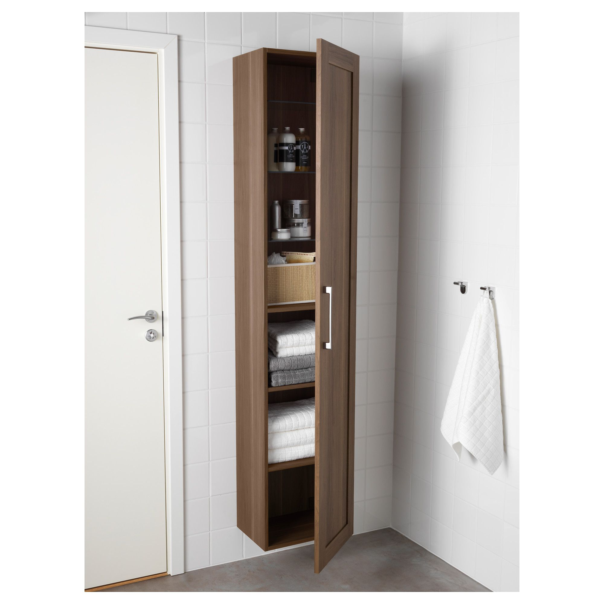 Godmorgon High Cabinet Walnut Effect In 2019 Products Bathroom