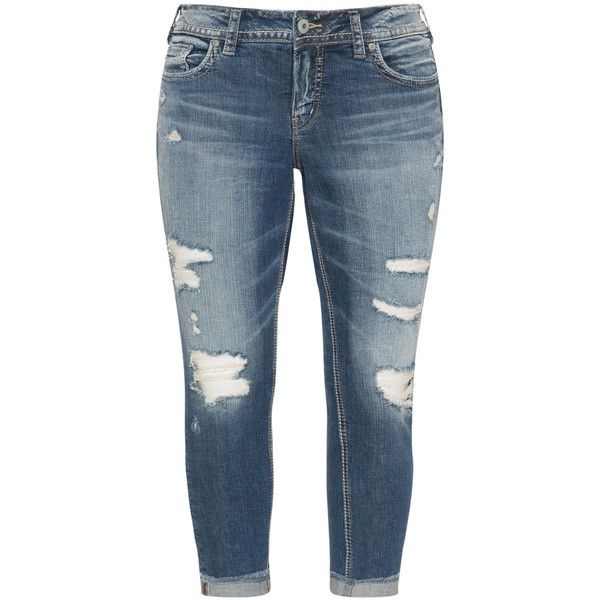 Silver Jeans Blue Plus Size Distressed effect skinny jeans ($140 ...