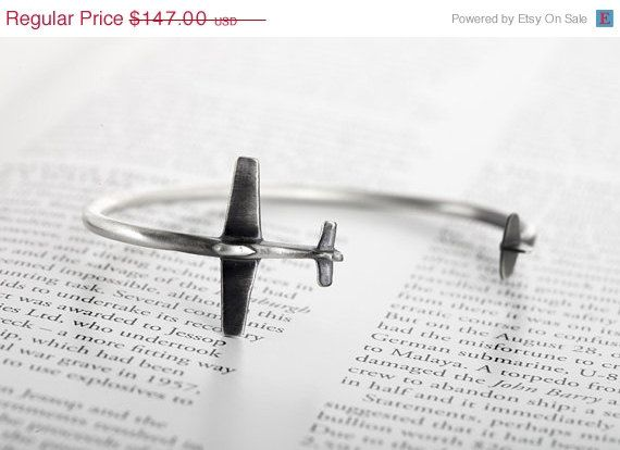 Holidays Sale Sterling silver airplane cuff bracelet by TomerM