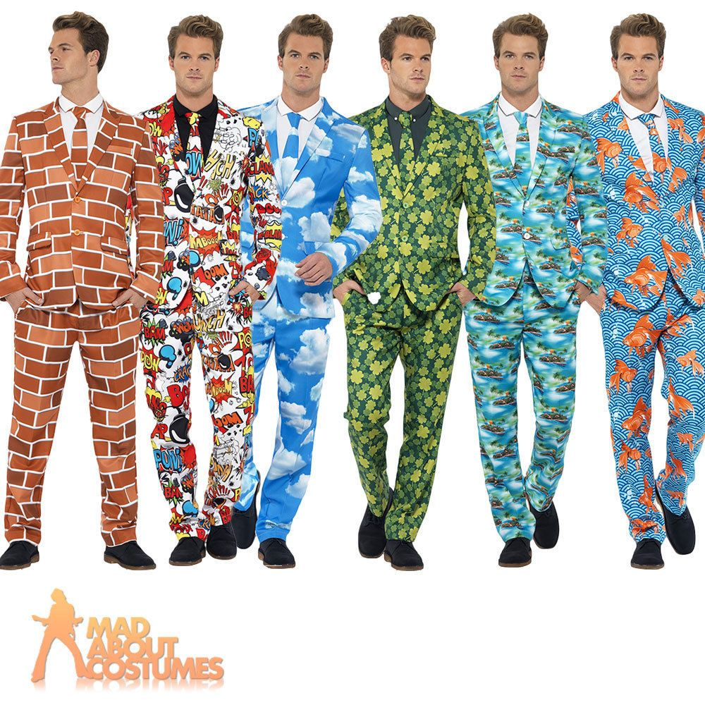 Mens Stag Party Stand Out Suits Funny Comic Fancy Dress Costume ...