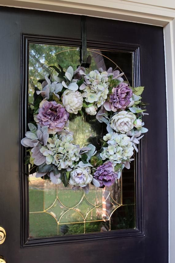 Spring Wreath for Front door, Hydrangea Wreath, Rustic Country Farmhouse Style wreath, Spring Double Door Shabby Chic Decor, Gift for Her #doubledoorwreaths