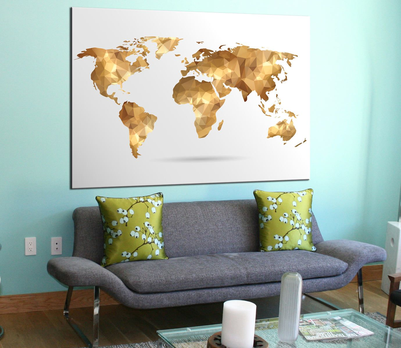 Golden geometric world map canvas panels set large modern golden geometric world map canvas panels set large modern abstract world map printwall gumiabroncs Gallery