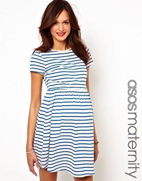 ASOS Maternity Skater Dress in Neppi Stripe at asos.com