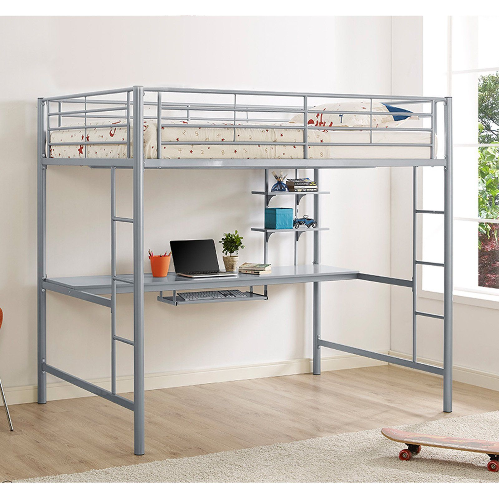 Walker Edison Premium Metal Full Size Loft Bed with Wood ...