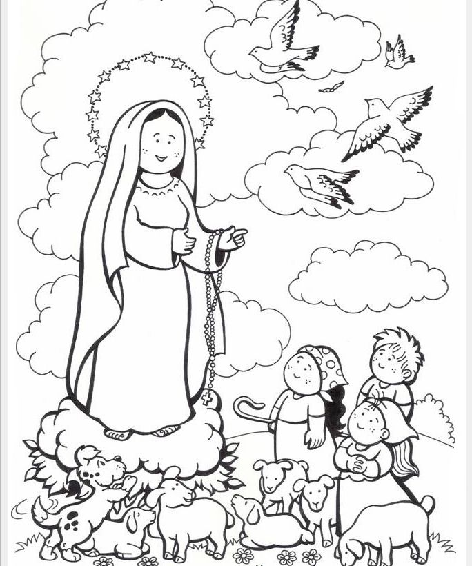 The Cutest Our Lady Of Fatima Coloring Page Paginas Para