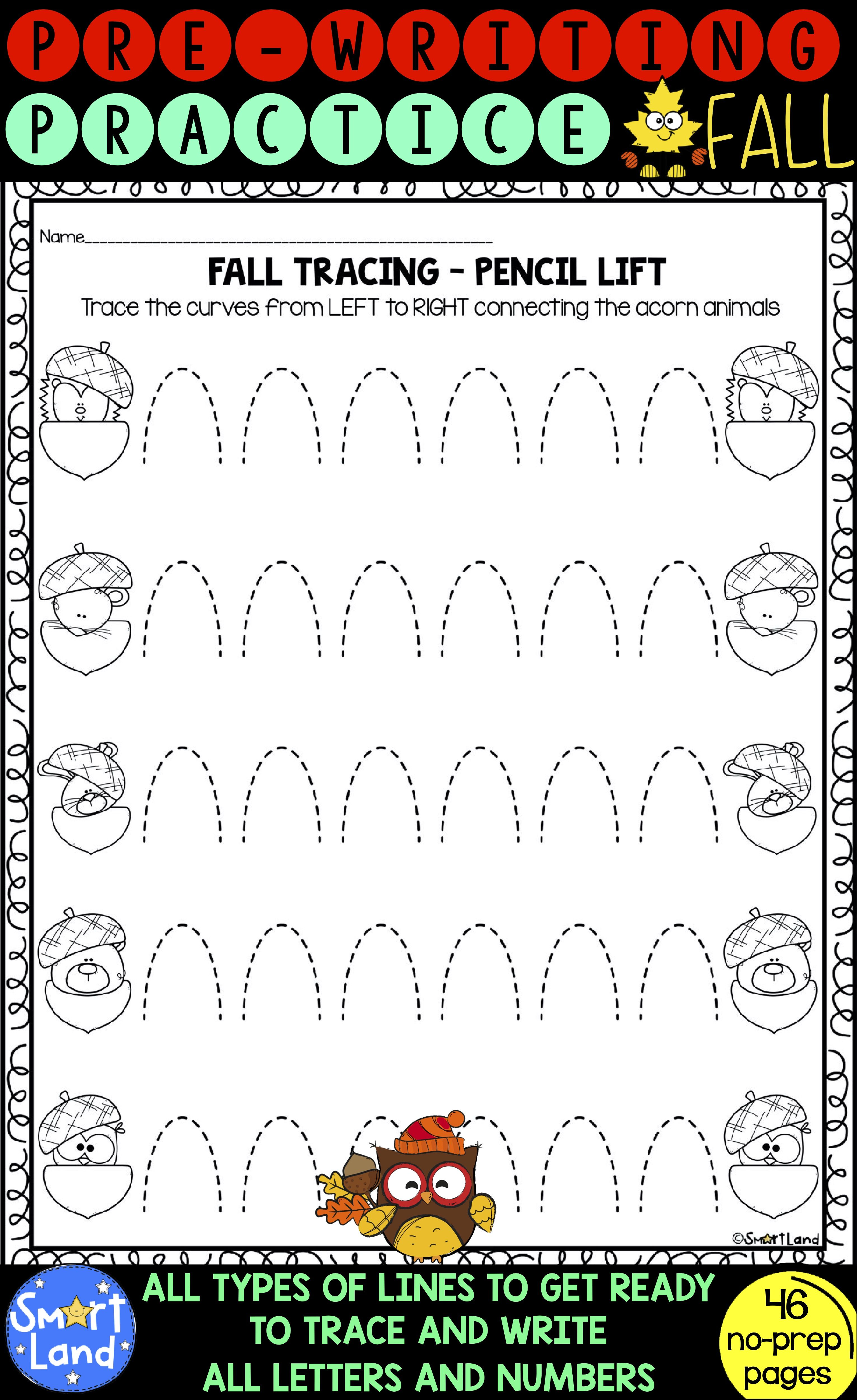 Pre Writing Practice Tracing Worksheets Fall Printables Pre Writing Practice Pre Writing Writing Practice [ 5000 x 3062 Pixel ]