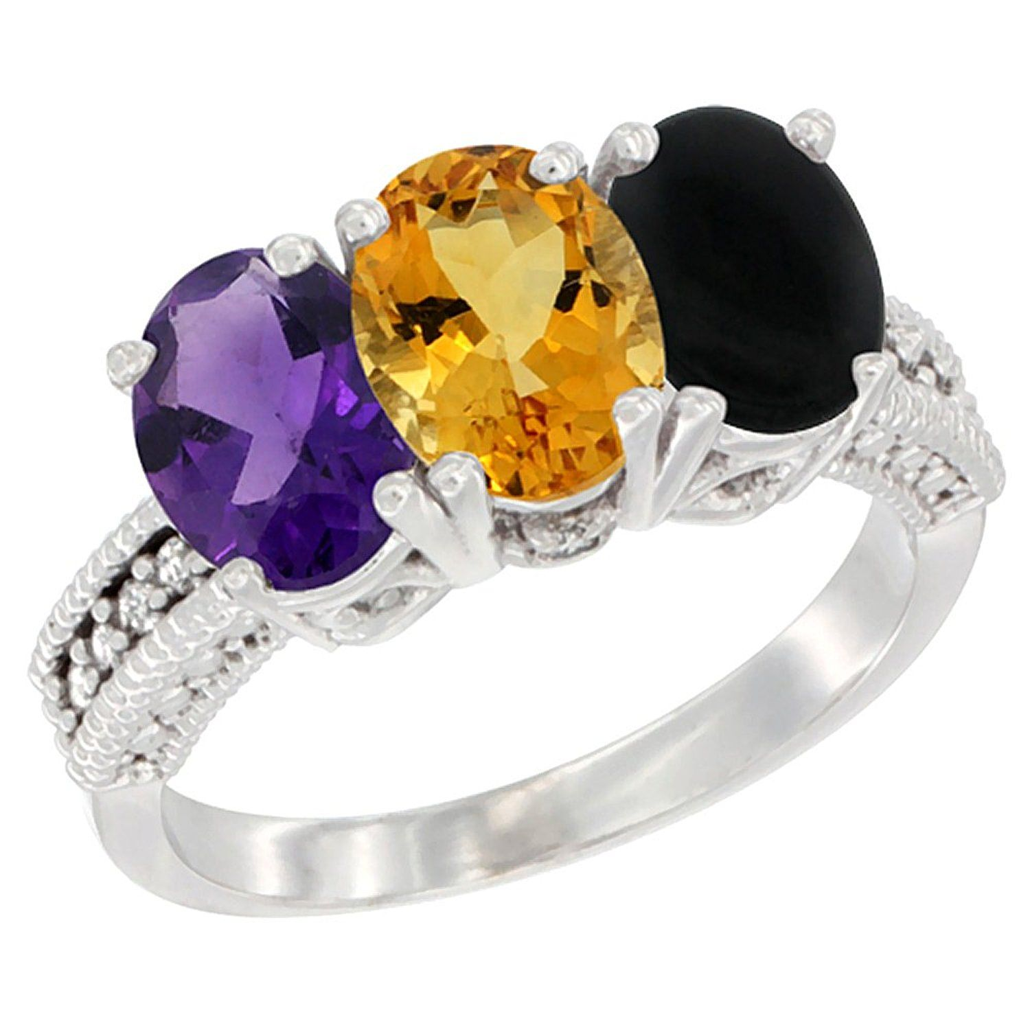 14K White Gold Natural Amethyst, Citrine and Black Onyx Ring 3-Stone 7x5 mm Oval Diamond Accent, sizes 5 - 10 *** Review more details here : Jewelry Ring Bands