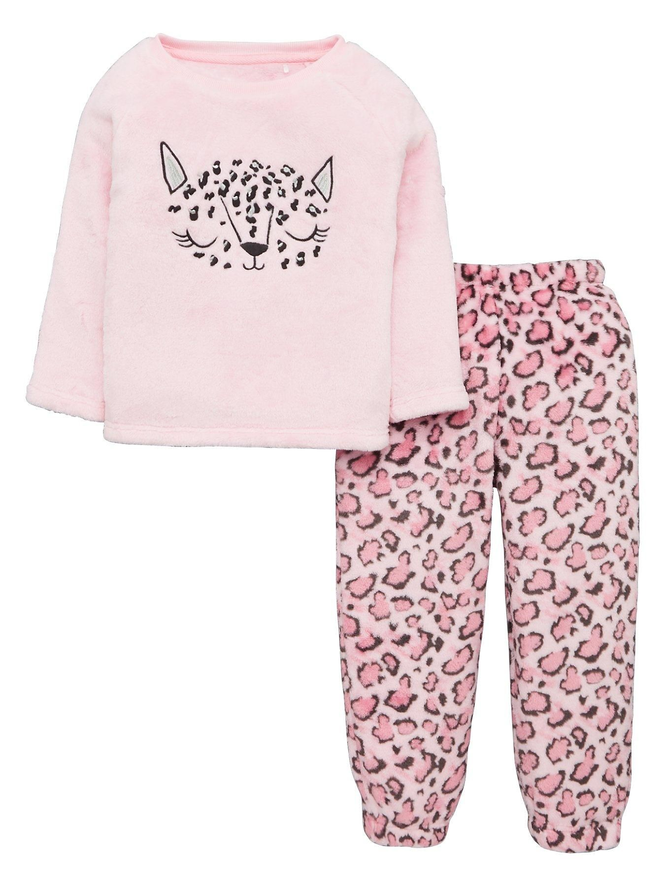 Girls Leopard Fleece Lounge Set Coral Girls Leopard Pink