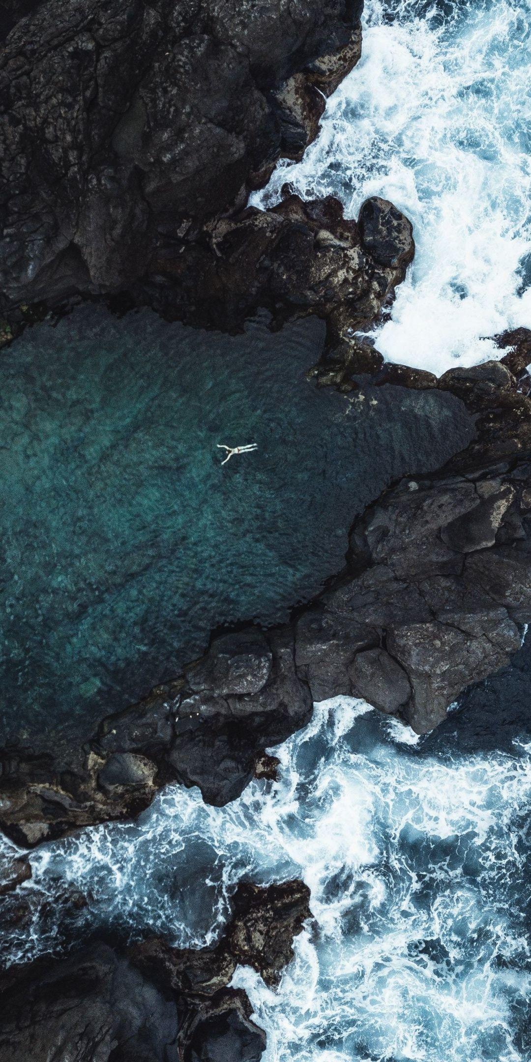 Bay, coast, aerial view, 1080x2160 wallpaper