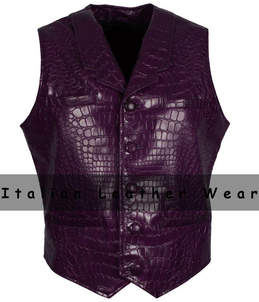 a6a77c0d9c900 Crocodile Alligator Faux Leather Vintage Mens Motorcycle Fashion Purple vest