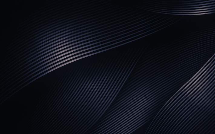 Download Wallpapers 4k Abstract Waves Creative Dark Background Material Design Gray Waves Besthqwallpapers Com Abstract Wallpaper Dark Wallpaper Abstract