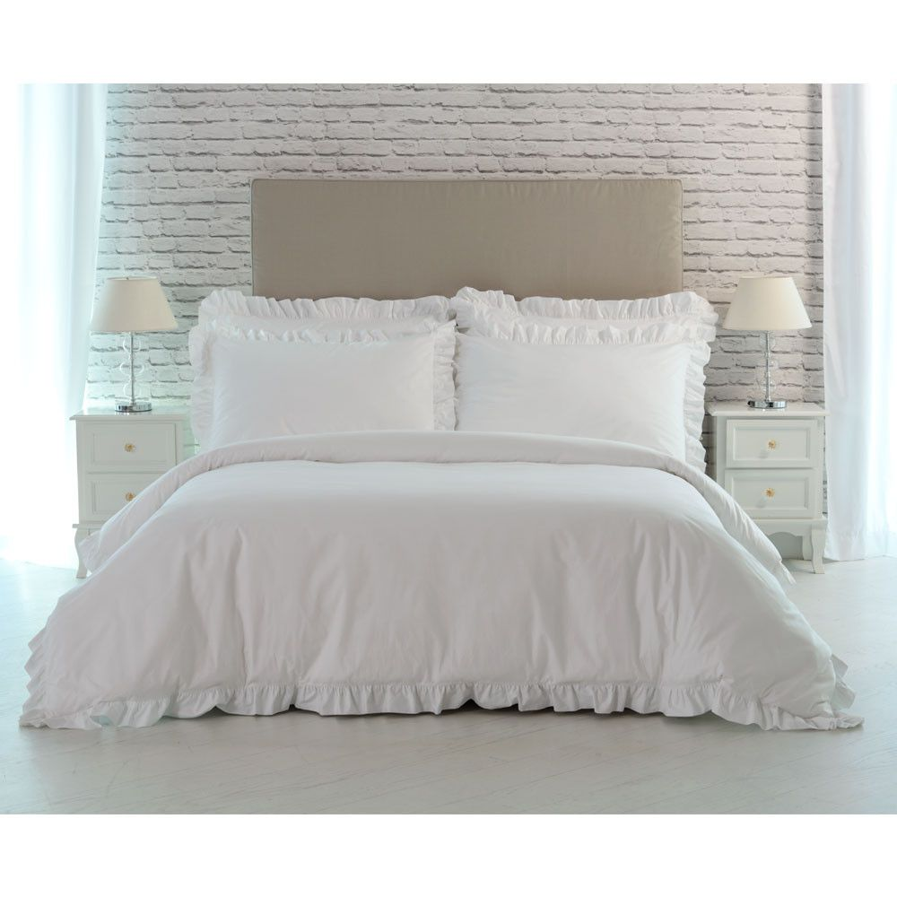 Benedetta Luxury Ruffle Bed Linen Set White Linen Bedding Bed