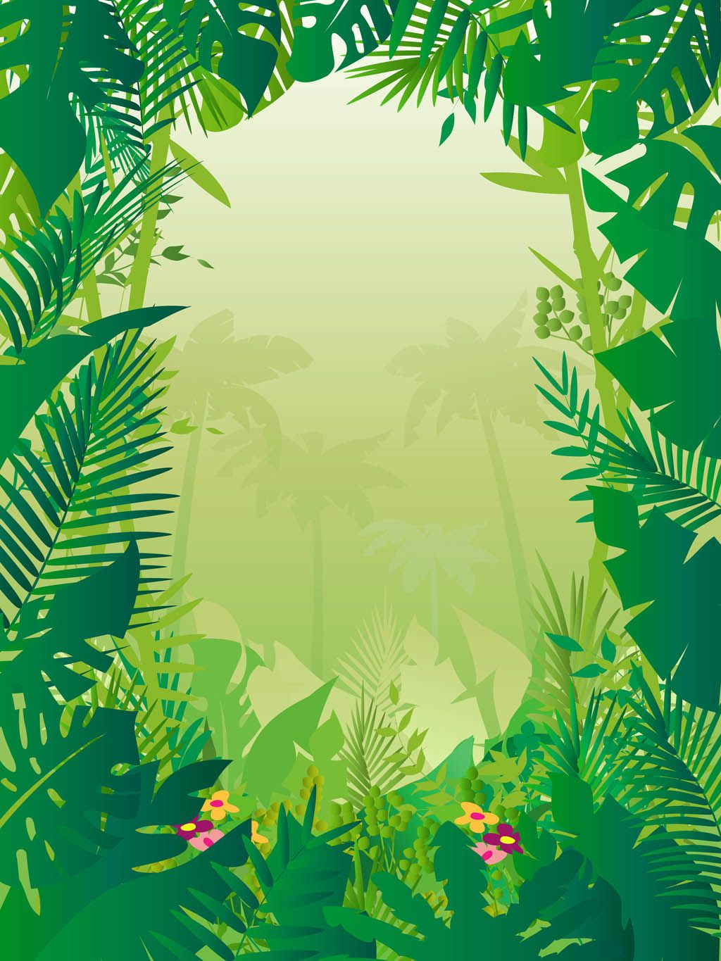 Nature and exotic places vector graphics of a jungle plant leaves nature and exotic places vector graphics of a jungle plant leaves and different flowers creating stopboris Choice Image