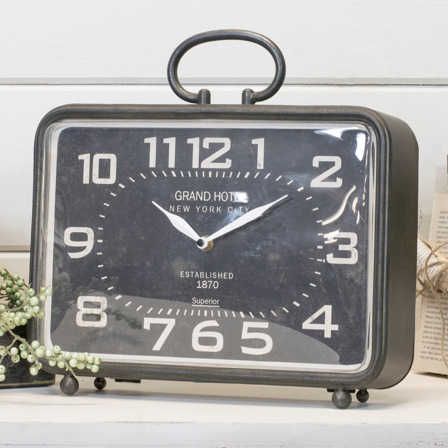 American Made Alarm Clock American Mercantile Grand Hotel Metal Table Clock Products