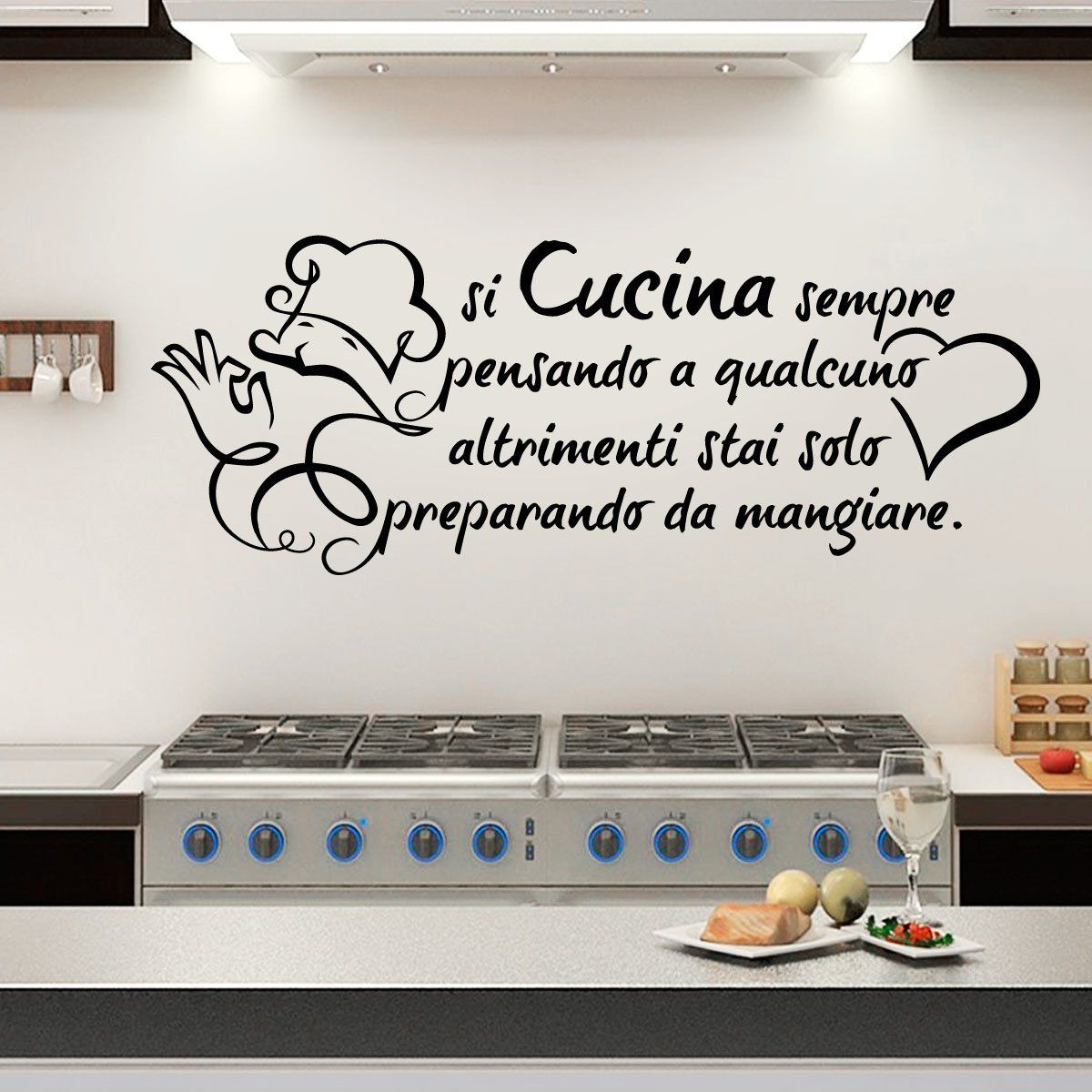 Adesivi Murali Muro Parete Frasi Si Cucina Sempre Pensando a ...