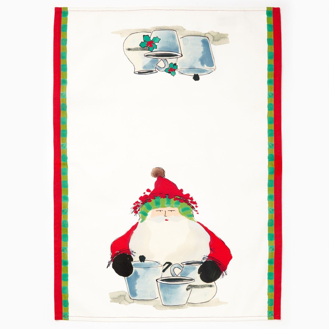 The Old St. Nick Dish Towel with Pots and Pans features a handpainted design by Alessandro Taddei that is then custom printed on the 100% cotton fabric.