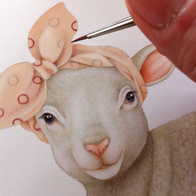 Tenero agnellino - Stampa da disegno fatto a mano ...