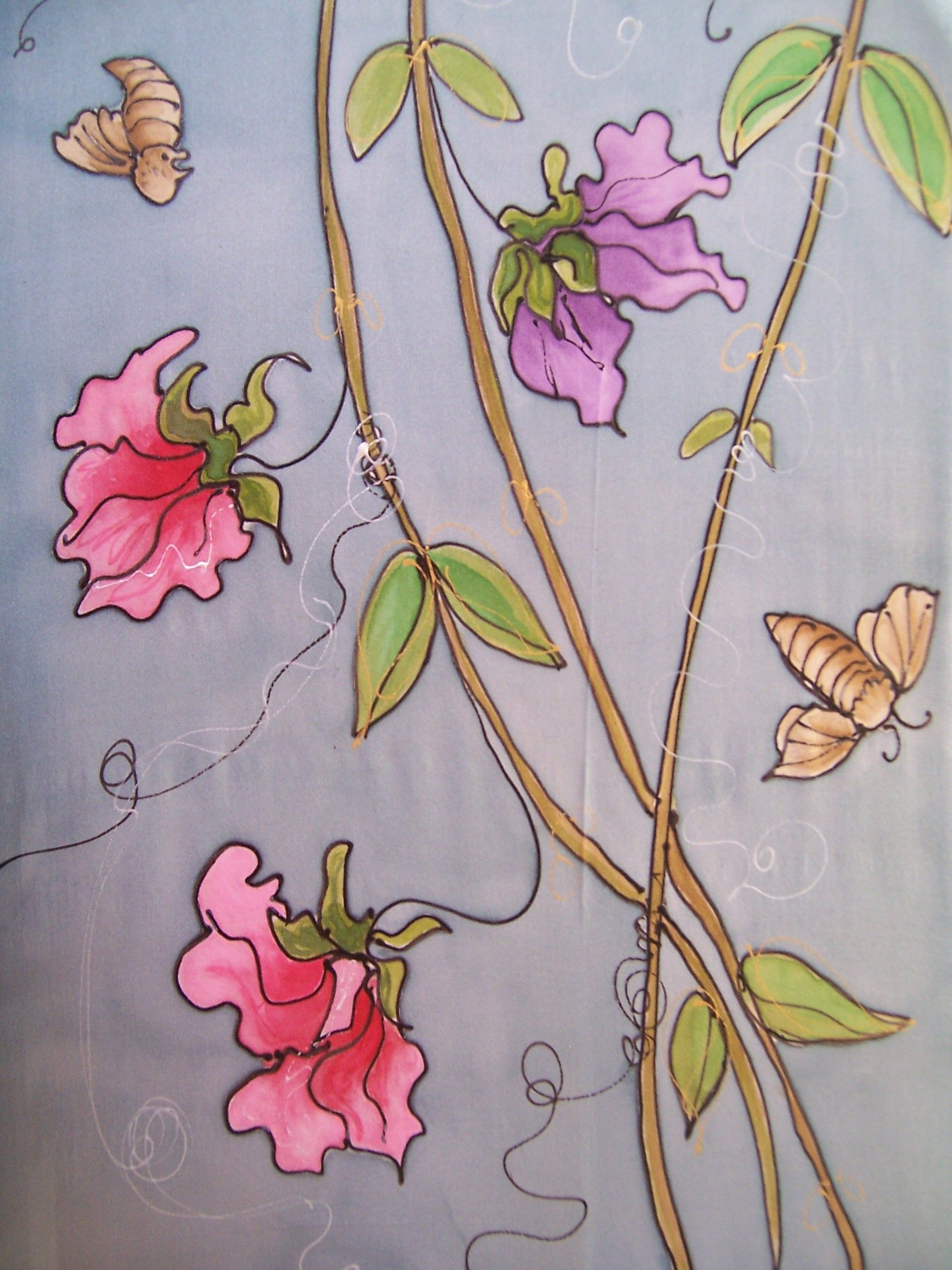 'Sweetpea' hand painted silk scarf by me.