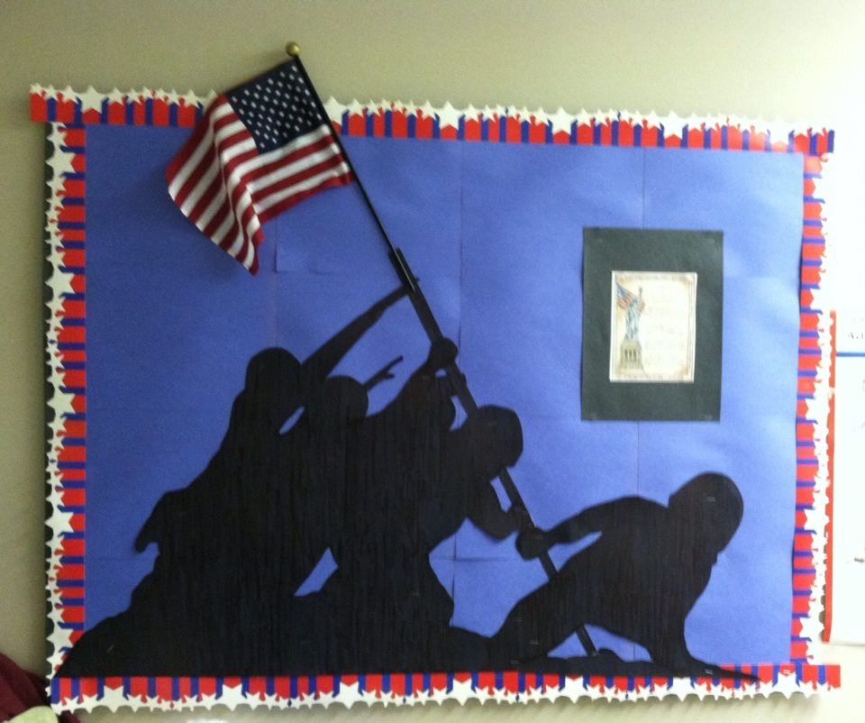 Memorial day bulletin board at the nursing home work for Nursing home christmas door decorations