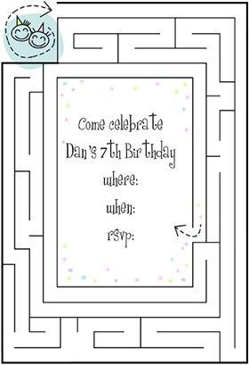 Birthday maze printable invitation customize add text and free printable birthday invitation templates for kids stopboris Images