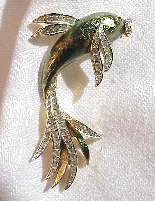 Vintage Panetta Enamel Rhinestone Fish Brooch Exotic Fantail  | eBay