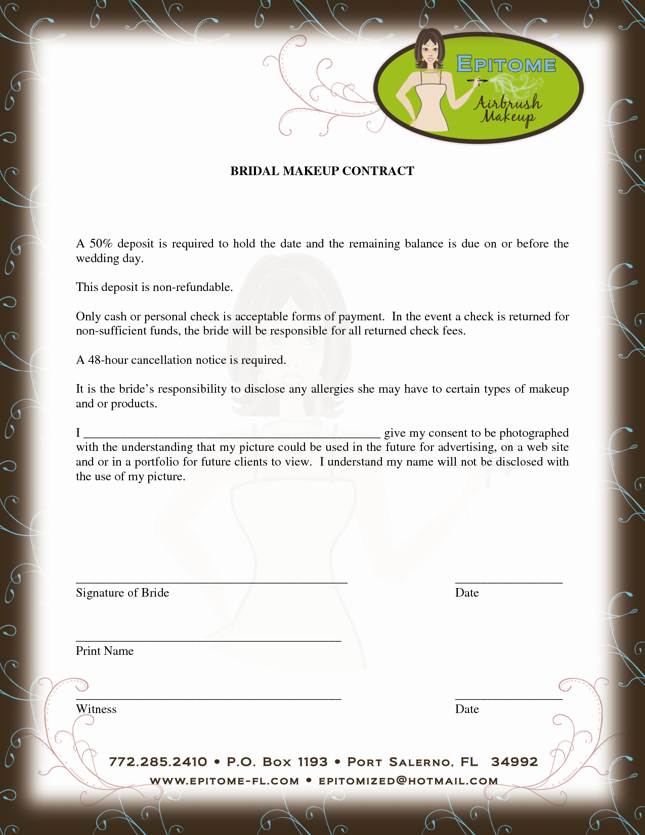 Contract For Discounts  Beyoutiful    Template