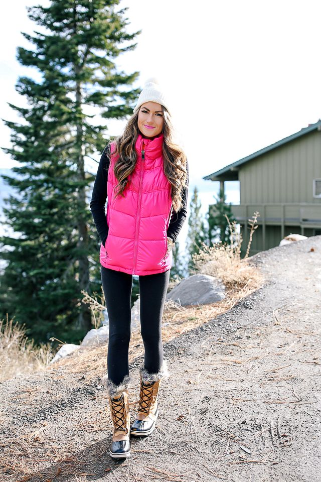 d4839588e99 Southern Curls   Pearls  Hot Pink Puffer Vest Cold Weather Outfits