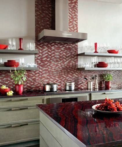 Magma Red Granite Countertops. Featured In Design New England.