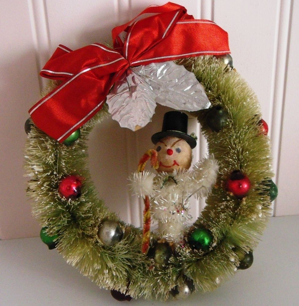 vtg antique bottle brush xmas wreath mercury glass ornaments spun cotton snowman in collectibles ebay - Ebay Vintage Christmas Decorations