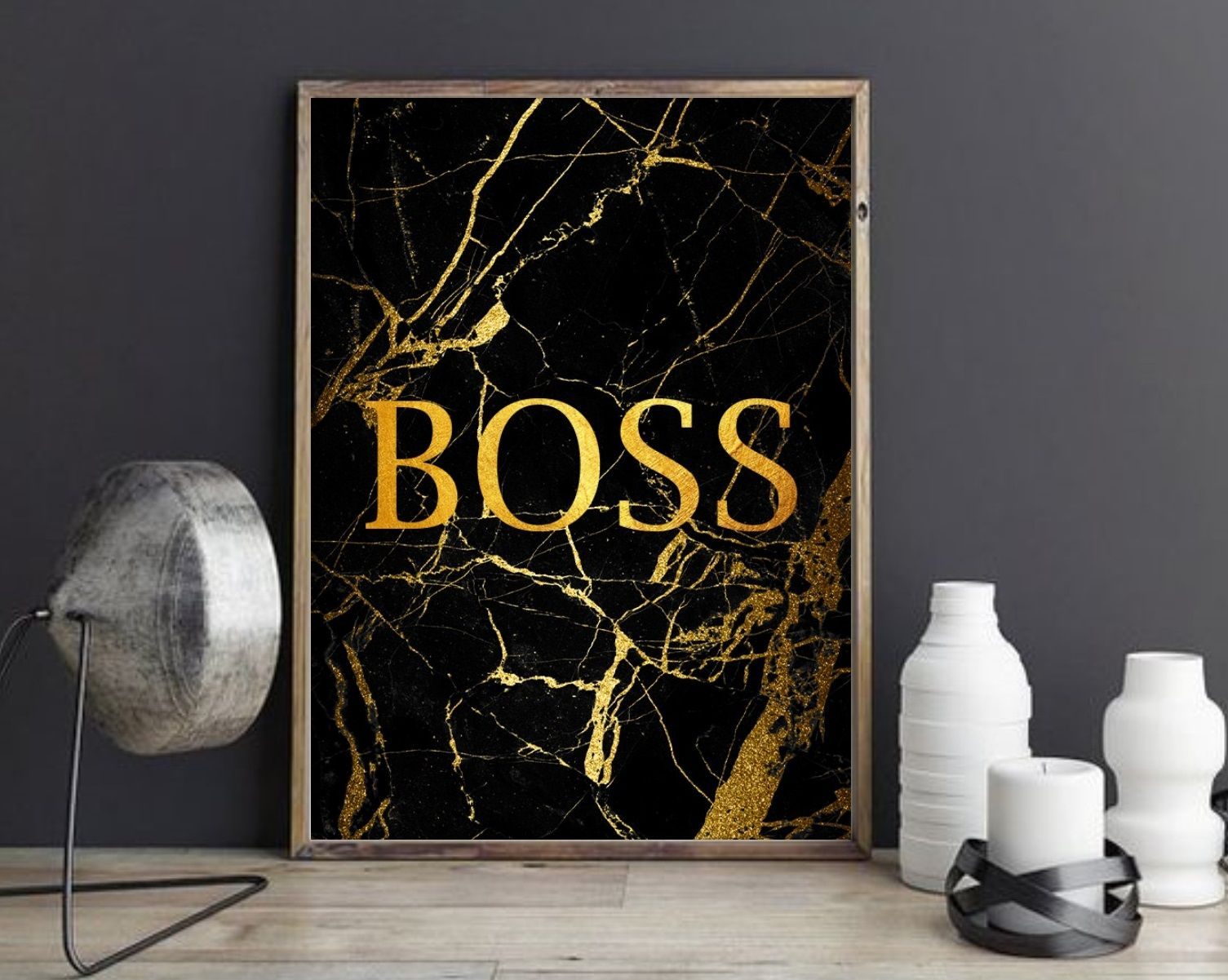 Black And Gold Boss Print Style Up Your Home Or Office With