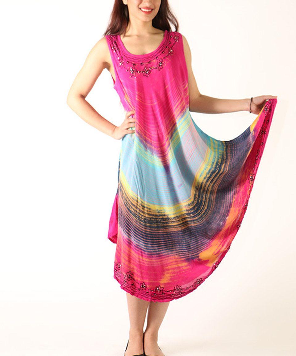 Love this Pink Floral Sequin Scoop Neck Midi Dress by Shoreline on #zulily! #zulilyfinds