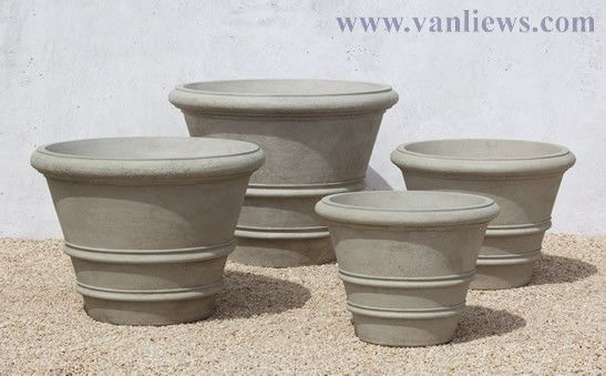 """24"""", 27"""", 31.5"""", and 35.5"""" Classic Rolled Rim Planters http://www.vanliews.com/"""