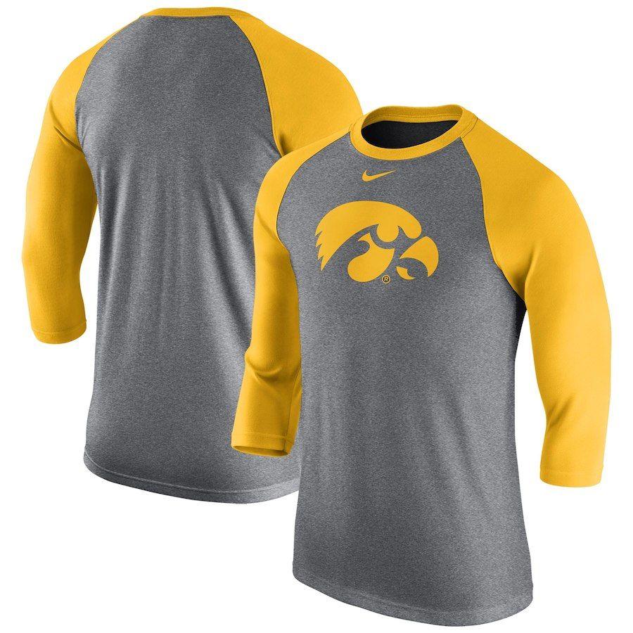 Iowa Hawkeyes Nike Logo Tri Blend 3 4 Sleeve Raglan T Shirt Heathered Gray Nike Retro Clothes Nike Logo [ 900 x 900 Pixel ]