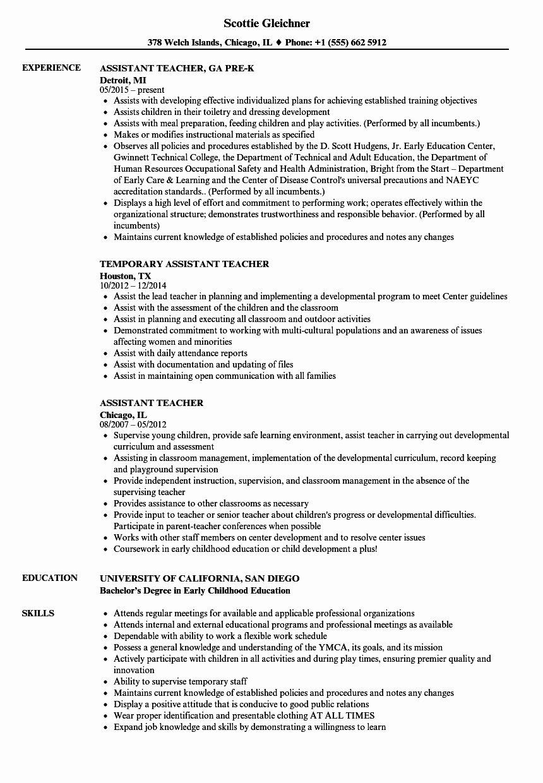 20 Teacher assistant Job Description Resume Teacher