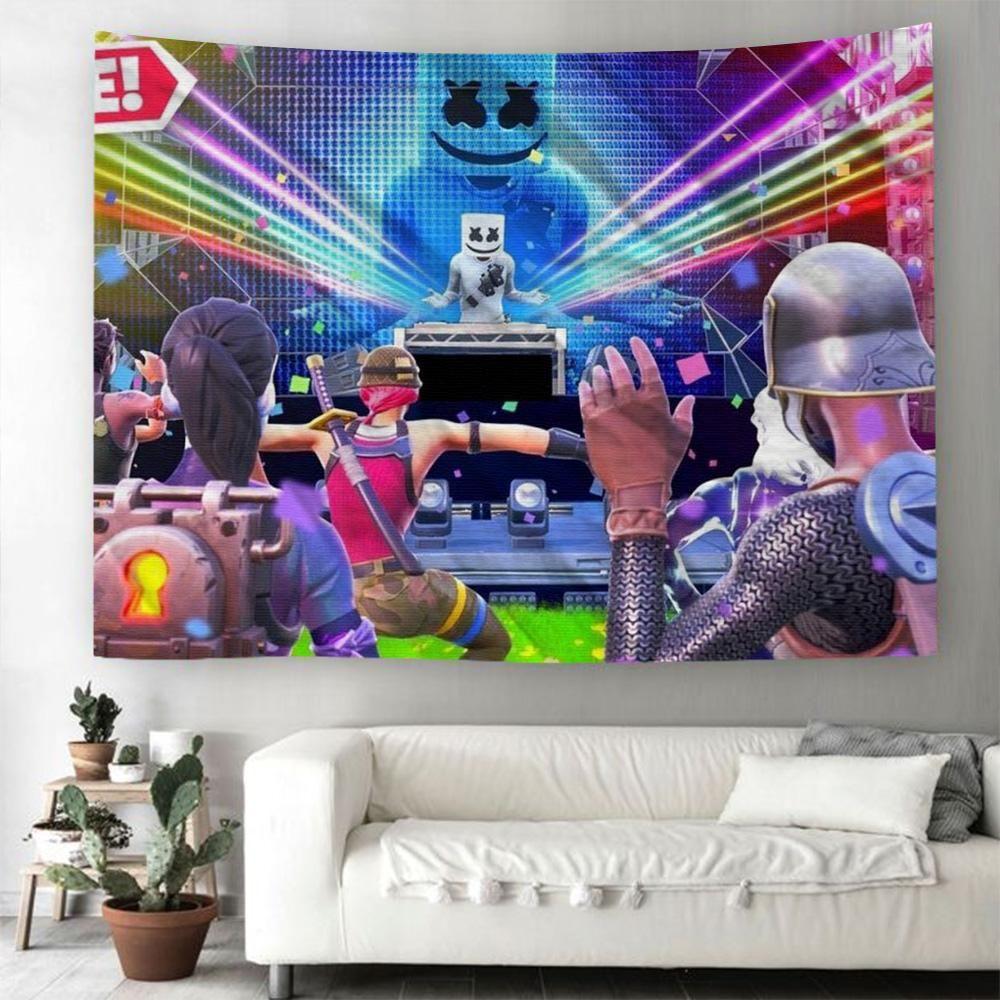 Tenture Murale Fortnite DJ Marshmello Tapisserie Murale Déco
