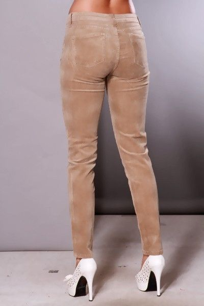 Details about Women Corduroy Brown Cords Skinny Pants Classic Bib ...
