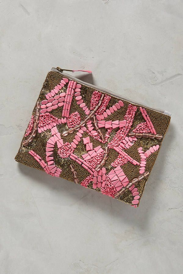 Anthropologie Beaded Mosaic Pouch